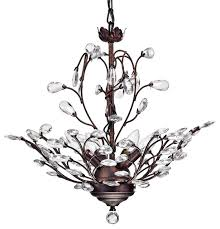 4 light vine and crystal chandelier ceiling fixture antique copper