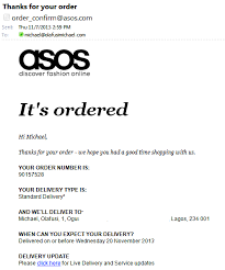 Order Confirmation Asos Order Confirmation Google Search Email Design Pinterest