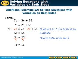 3 additional example 2a solving equations with variables on both sides