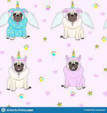 Cute Seamless Pattern With Unicorn Pug ...
