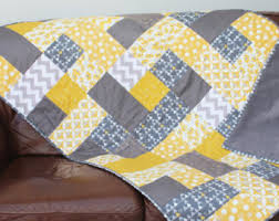 handmade patchwork contemporary quilt mustard yellow and grey ... & handmade patchwork contemporary quilt mustard yellow and grey modern sofa throw  blanket quilted heirloom geometric patterns Adamdwight.com