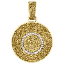 details about 10k yellow gold real diamond dome puff medallion pendant men s pave charm 1 ct
