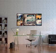 office deco. Wood Photo Blocks Vintage Cars Home Decor Wall Art Office Deco Y