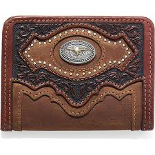 silver creek western mens wallet leather bifold tooled studs concho brown e80449