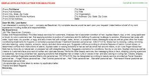 job application letter beautician job application letter beautician jobs