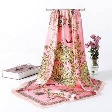 Designer Square Silk Scarves Us 2 99 40 Off Designer Satin Silk Scarfs For Women Large Square Womens Scarves Wraps 90 90cm Women Retro Print Hijab Kerchief Scarves Aa10138 In