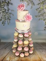 Roses And Butterflies Cupcake Tower With 2 Tier Cutting Cake Mels