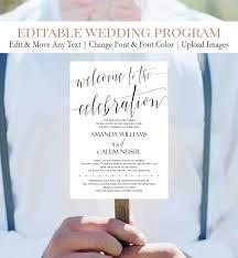 Templates For Wedding Programs Diy Wedding Program Fans Template Editable Text Printable Script Wedding Program C1
