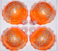 4 Tlg 12cm Glas Weihnachtskugeln Set 12cm ø In Hochglanz Orange Silberne Ornamente