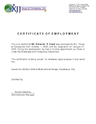 Certificate Of Employment For Travel Purposes Sample Fr Good