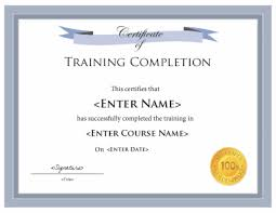 Certificate Of Training Completion Template Training Certificate Template