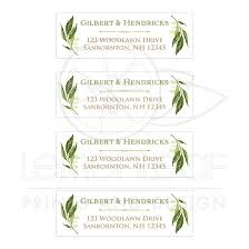 Personalized Greenery Foliage Wedding Address Labels Watercolor Leaves