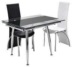 square extended glass top dining table with silver chrome base added by black and white modern stools for you