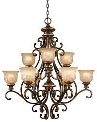 norwalk 9 light chandelier bronze umber and amber etched glass mediterranean chandeliers