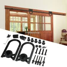 6ft double antique sliding barn door hardware rustic roller track kit u shape uk
