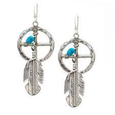 sterling silver navajo medicine wheel turquoise earrings