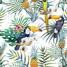 Topical Pattern Mesmerizing Topical Hawaii Watercolor Tucan Parrot Flowers Pineapple Wallpaper