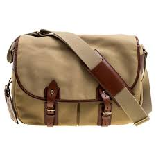 ralph lauren khaki brown fabric and leather trimmed messenger bag for