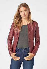 on detail faux leather jacket in cabernet get great deals at justfab