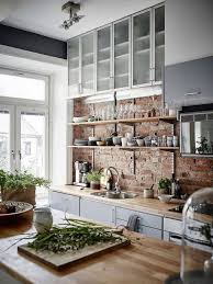 Kitchen: Scandinavian Kitchen With Brick Wall Divider - Brick Kitchen  Backsplash