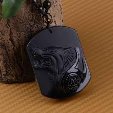 details about unique obsidian black wolf head pendant necklace lucky