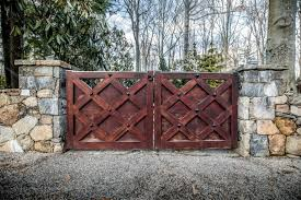 vintage style wooden gates with diamond shaped rivets