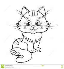 coloring page outline of cartoon fluffy cat coloring book for kids coloring page outline of cartoon