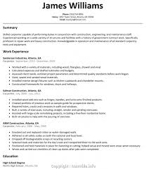 Make Construction Cv Template Australia Carpenter Resume Examples 25