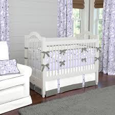 Lavender Nursery Bedroom Jungle Themed Purple Crib Bedding Set Featuring White Rug