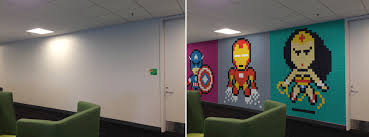 Office walls Wood Office Worker Uses 8024 Postit Notes To Transform Boring Office Walls Into Superhero Murals Steelcase Office Worker Uses 8024 Postit Notes To Transform Boring Office