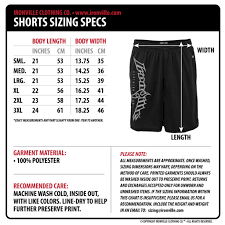 Ironville Clothing Mens Shorts Polyester Size Chart