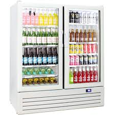 schmick upright 2 door commercial glass front short profile bar fridge