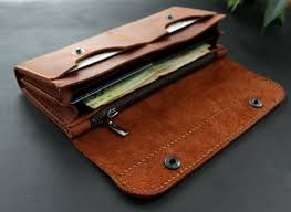 large leather women s wallet brick brown product images