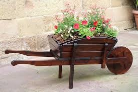 wooden painted wheelbarrow