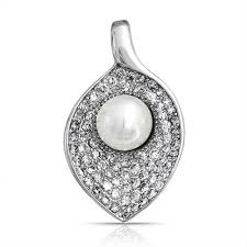 bridal calla lily pendant simulated pearl rhodium plated brass necklace for women 16 inches