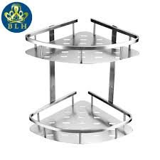stainless steel bathroom shelves. BLH 821 Double Tier Brushed Nickel Stainless Steel Wall Bathroom Shelf Shower Caddy Rack Accessories Shelves 2 Layers-in From Home