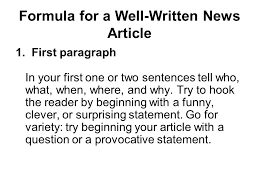 Writing A Newspaper Article Writing A Newspaper Article Formula For A Well Written News