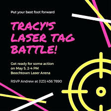 Free Laser Tag Invitation Template Pink And Yellow Lines Target Icon Laser Tag Invitation Use This