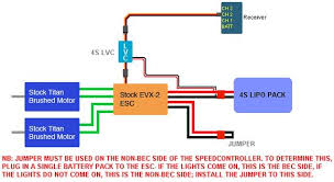 e revo faq tutorials to do this you must connect the 4s lipo to the bec side of the evx2 and then use a jumper to short circuit the un used battery input leads