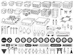 手書き風地図素材セットイラスト No 770159無料イラストなら