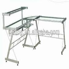 tempered glass office desk. China Tempered Glass Office Desk PB/MDF Board+steel +PVC Cover Durable ,