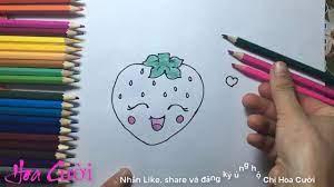 vẽ quả dâu tây cười xinh - drawing a beautiful laughing strawberry - hoa  cười - YouTube