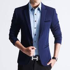 Blue Coat Mens Fashion Jacket Coat Slim Blazer Suit