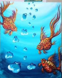 playful fishes in aquarium canvas painting ideas