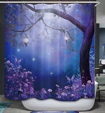 novelty shower curtains. Enchanted Tree Lanterns Shower Curtain Magical Fantasy Night Moon Purple Blue Novelty Curtains E