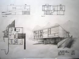 this is a series of hand drawings about rose seidler house including 2 plans 2 sections 2 elevations and 2 perspective drawings this is an effecitive way