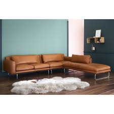Cognac 5 Seater Leather Right Hand Corner Sofa In 2019
