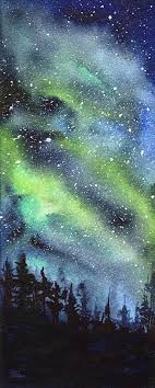 galaxy painting galaxy watercolor nebula northern lights by olga shvartsur
