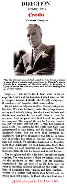 charlie chaplin great dictator speech charlie chaplin idealism  charlie chaplin s credo direction magazine 1941