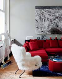 Living Room With Red Furniture Living Room Red Leather Sectional Sofa With Ottoman For Modern